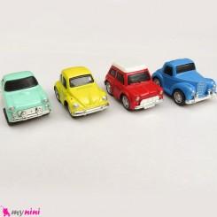 ست 4 عددی ماشین فلزی عقب کش مدل قدیمی mini diecast old cars toys