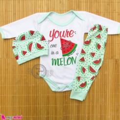 ست 3 تکه لباس هندوانه ای نوزاد و کودک cute watermelon baby clothes