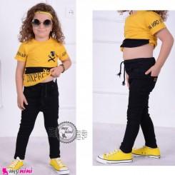 شلوار جین بچه گانه کمرکشی مشکی Baby jeans pants