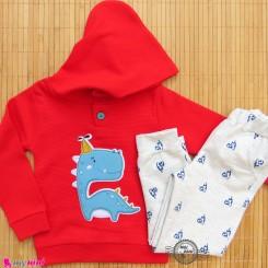 ست هودی و شلوار بچه گانه دورس لاکرا قرمز طوسی دایناسور Baby warm clothes set
