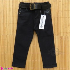 شلوار جین کمربندداربچه گانه دکمه ای مشکی Baby jeans pants