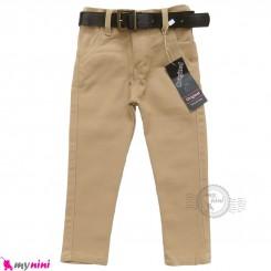 شلوار کتان کمربندداربچه گانه دکمه ای کرمی Baby jeans pants