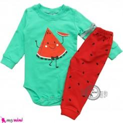 ست بادی بلند و شلوار نخی دورس سبز و قرمز هندوانه Baby clothes set