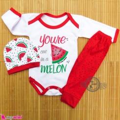 ست 3 تکه لباس هندوانه ای نوزاد و کودک قرمز cute watermelon baby clothes