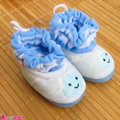 پاپوش مخملی نوزاد و کودک آبی ابر Baby footwear