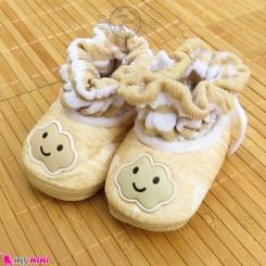 پاپوش مخملی نوزاد و کودک نسکافه ای ابر Baby footwear