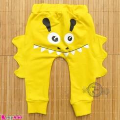 شلوار نخی دورس زرد طرح غول baby cotton pants