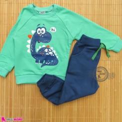 ست بلوز و شلوار گرم دورس بچگانه سبز سرمه ای دینو Baby warm clothes set
