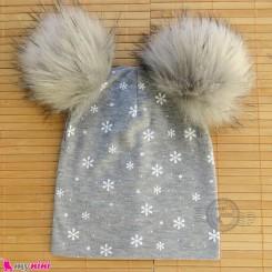 کلاه کشی پوم پوم دونه برف طوسی baby cotton pom pom hat