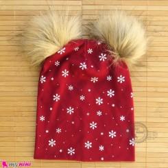کلاه کشی پوم پوم دونه برف زرشکی baby cotton pom pom hat