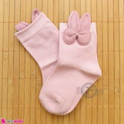 جوراب ساق دار بچگانه فانتزی نخی اعلا طرح خرگوش صورتی Baby cotton socks