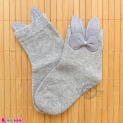 جوراب ساق دار بچگانه فانتزی نخی اعلا طرح خرگوش طوسی Baby cotton socks