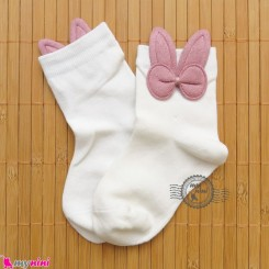 جوراب ساق دار بچگانه فانتزی نخی اعلا طرح خرگوش سفید Baby cotton socks
