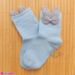 جوراب ساق دار بچگانه فانتزی نخی اعلا طرح خرگوش آبی Baby cotton socks