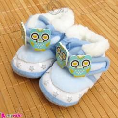 پاپوش مخملی نوزاد و کودک استپ دار آبی جغد Baby footwear