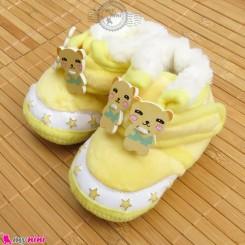 پاپوش مخملی نوزاد و کودک استپ دار لیمویی خرس Baby footwear
