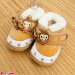 پاپوش مخملی نوزاد و کودک استپ دار قهوه ای میمون Baby footwear