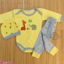 ست 3 تکه بادی بلند و شلوار و کلاه نوزاد و کودک زرد زرافه Baby clothes set