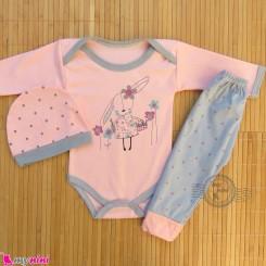 ست 3 تکه بادی بلند و شلوار و کلاه نوزاد و کودک صورتی طوسی خرگوش Baby clothes set