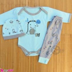 ست 3 تکه بادی بلند و شلوار و کلاه نوزاد و کودک آبی دایناسور Baby clothes set