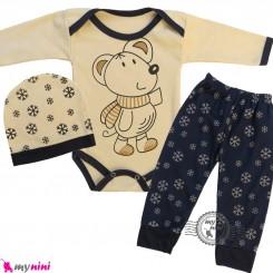 ست 3 تکه بادی بلند و شلوار و کلاه نسکافه ای سرمه ای موشی Baby clothes set