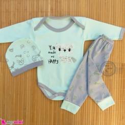 ست 3 تکه بادی بلند و شلوار و کلاه فیروزه ای طوسی خرس Baby clothes set