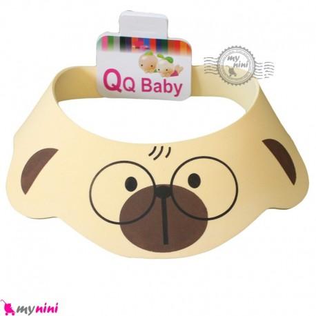 کلاه محافظ حمام نوزاد و کودک کرمی خرس عینکی Baby Shower Cap