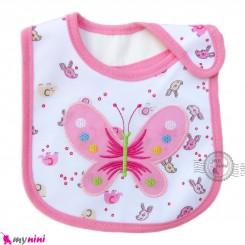 پیشبند نوزاد و کودک نخی 3 لایه صورتی پروانه baby cotton Bib