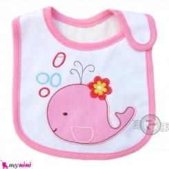 پیشبند نوزاد و کودک نخی 3 لایه صورتی نهنگ baby cotton Bib