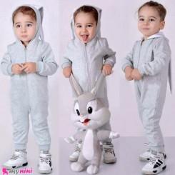 سرهمی بچه گانه نخ پنبه ای دورس خرگوش طوسی گوش دار Baby rabbit jumpsuits