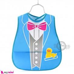 پیشبند نایلونی جیب دار آبی طرح کت Baby waterproof bib