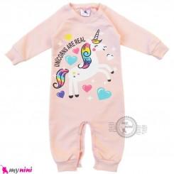 لباس سرهمی نوزاد و کودک نخی دورس صورتی یخی یونی کورن Baby cotton sleepsuits