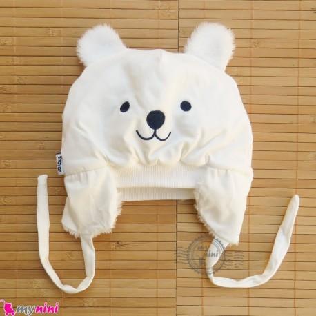 کلاه روگوشی گرم نوزاد داخل خزدار خرس پو شیری Baby warm hats