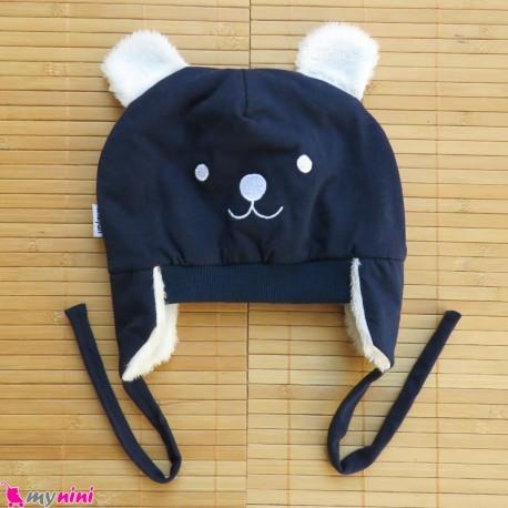 کلاه روگوشی گرم نوزاد داخل خزدار خرس پو سرمه ای Baby warm hats