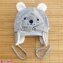 کلاه روگوشی گرم نوزاد داخل خزدار خرس پو طوسی Baby warm hats
