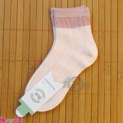 جوراب ساق دار دو رنگ بچگانه نخی اعلا گلبهی یخی Baby cotton socks