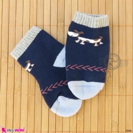 جوراب حوله ای گرم نوزادی اعلا سرمه ای سگ  baby warm socks