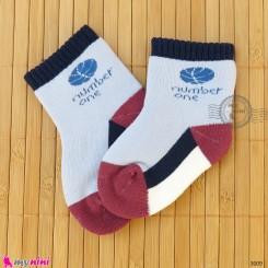 جوراب حوله ای گرم نوزادی اعلا آبی نامبر وان  baby warm socks