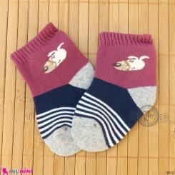 جوراب حوله ای گرم نوزادی اعلا دو رنگ سگ  baby warm socks