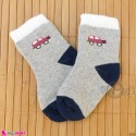 جوراب حوله ای گرم نوزادی اعلا طوسی ماشین  baby warm socks