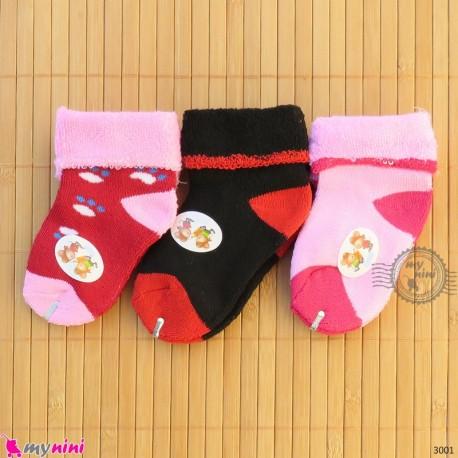 جوراب حوله ای گرم نوزادی 3 جفتی baby warm socks