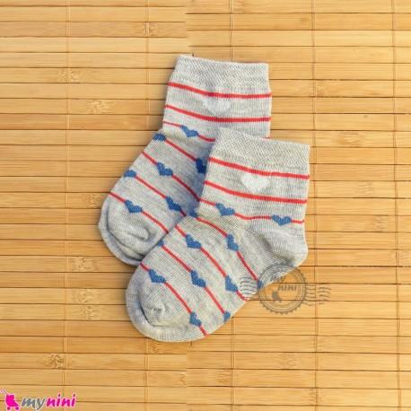 جوراب بچگانه نخی قلبی راه راه طوسی Baby cotton socks