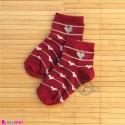 جوراب بچگانه نخی قلبی راه راه زرشکی Baby cotton socks