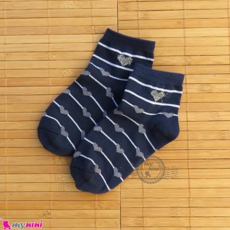 جوراب بچگانه نخی قلبی راه راه سرمه ای Baby cotton socks