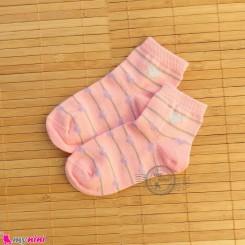 جوراب بچگانه نخی قلبی راه راه صورتی Baby cotton socks