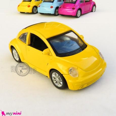 ماشین فلزی متالیک عقب کش فولکس زرد diecast cars toys