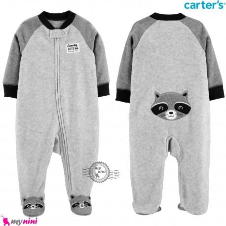 سرهمی گرم کارترز مخملی اورجینال طوسی راکون Carters baby fleece pajamas