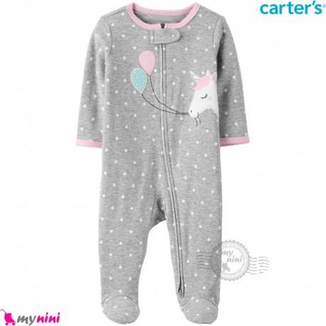 سرهمی کارترز اورجینال نخ پنبه طوسی خالدار یونی کورن carter's pajamas