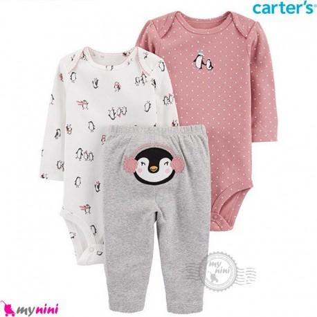 لباس کارترز 3 تکه اورجینال 2 عدد بادی و شلوار صورتی طوسی پنگوئن Carter's kids clothes set