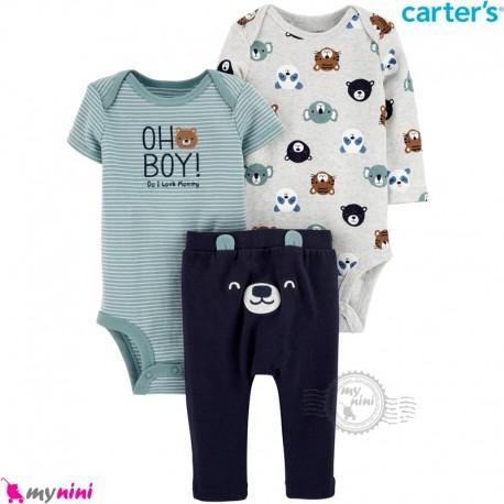 لباس کارترز 3 تکه اورجینال 2 عدد بادی و شلوار طوسی سبز حیوانات Carter's kids clothes set